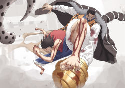 >:( 2boys alsea bare_arms barefoot battle black_hair blood blood_on_face bloody_clothes bloody_hands broken clenched_hands clenched_teeth dust fur_coat hook_hand long_sleeves monkey_d_luffy multiple_boys no_hat no_headwear one_piece sand scar shirt short_hair shorts sir_crocodile teeth vest