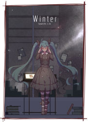 1girl 2016 aqua_hair bangs black_dress black_ribbon black_shoes book_stack border breasts building city closed_mouth dated desk double-breasted dress english eyelashes eyes_closed full_body glass glasses hair_ribbon hand_on_glasses hatsune_miku highres indoors light_particles long_hair long_sleeves medium_breasts monitor night night_sky note red-framed_eyewear ribbon shadow shoes silhouette sky skyscraper smile solo standing star_(sky) striped striped_legwear twintails very_long_hair vocaloid window zhayin-san