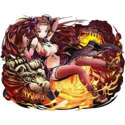 1girl arm_up bare_shoulders breasts cleavage divine_gate floating_hair full_body gloves large_breasts long_hair looking_at_viewer navel official_art panties red_eyes red_flower red_gloves red_hair red_legwear red_panties smile solo thighhighs transparent_background ucmm underwear very_long_hair