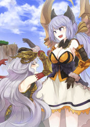 4girls :d absurdres afterimage angry animal_ears ao_(aocooler) bangs bare_shoulders black_gloves blue_sky breastplate breasts brown_ribbon cat_ears cleavage cliff cloud cloudy_sky dress elbow_gloves eyes_closed gloves granblue_fantasy hair_ribbon height_difference highres hitting large_breasts lavender_hair long_hair low_twintails lyria_(granblue_fantasy) medusa_(shingeki_no_bahamut) multiple_girls open_mouth outdoors outline petting purple_eyes red_gloves ribbon satyr_(granblue_fantasy) shingeki_no_bahamut skull sky smile snake snake_hair striped striped_ribbon tree twintails vambraces very_long_hair