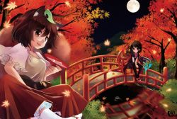 2girls animal_ears asymmetrical_wings autumn black_eyes black_hair black_legwear bridge brown_eyes brown_hair fang full_moon futatsuiwa_mamizou houjuu_nue leaf leaf_on_head maple_leaf moon multiple_girls night raccoon_ears river sakazuki sen1986 tabi touhou wings