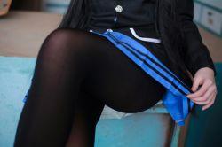 1girl black_hair black_legwear cosplay date_a_live pantyhose photo school_uniform skirt thighband_pantyhose tokisaki_kurumi twintails