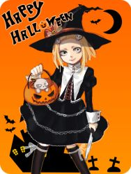 1girl bat black_legwear blonde_hair closed_mouth crescent_moon cross doll dress gradient_background hair_ornament halloween happy_halloween hat knife lenore lenore_lynchfast looking_at_viewer orange_background pumpkin ragamuffin simple_background skull smile soraxsky white_eyes witch_hat