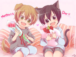 2boys animal_ears black_eyes black_hair blonde_hair bouquet cat_ears cat_tail dated dog_ears dog_tail eugeo flower green_eyes kirito mother's_day multiple_boys nyame open_mouth short_hair sword_art_online tail younger