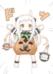 1girl ahoge alternate_costume fujishima_shinnosuke halloween horns jack-o'-lantern kantai_collection long_hair looking_at_viewer mittens northern_ocean_hime outstretched_arms shinkaisei-kan spread_arms translation_request white_hair white_skin yellow_eyes