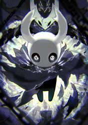 aura backlighting black_skin blurry cape chains chromatic_aberration cloak depth_of_field energy floating glowing glowing_eyes highres hollow_knight horns mamuru torn_clothes white_eyes