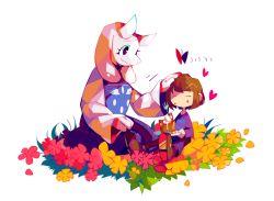 amks_krg butterfly cake eating flower food frisk_(undertale) heart petting simple_background toriel undertale