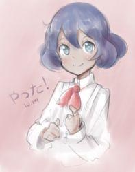 1girl blue_eyes blush bust cravat dark_skin drawfag pokemon pokemon_(game) pokemon_xy purple_hair short_hair sina_(pokemon) smile solo