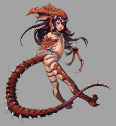 1girl absurdres brown_hair carapace claws fangs grey_background high_heels highres long_hair mcrc_science monster_girl red_eyes revealing_clothes spikes starcraft tail teeth tongue tongue_out zerg_(starcraft) zerg_hydralisk
