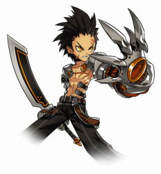 1boy angry armor belt black_hair blackjd83 choker claws elsword fighting_stance forehead male_focus official_art pants raven_(elsword) scar shirtless solo spiked_hair sword weapon white_background yellow_eyes