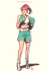 1girl annie_mei annie_mei_project boxing_gloves caleb_thomas full_body green_eyes long_hair original pink_hair ponytail scrunchie shoes shorts smile socks solo tank_top watermark web_address