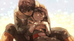 2boys :d ^_^ armor bangs between_legs black_hair blunt_bangs blush dappled_sunlight eyes_closed grin hand_on_another's_chest hand_on_another's_shoulder handwraps happy hug hug_from_behind knee_up leaning_back leaning_forward leg_warmers long_sleeves male_focus might_guy morioskn multiple_boys naruto open_mouth rock_lee sash sitting smile sunlight uniform vest