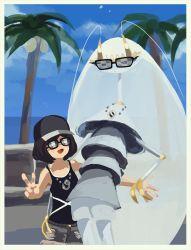 1girl :d alolan_exeggutor antennae baseball_cap black_hair black_hat black_shirt cloud cockroach day female_protagonist_(pokemon_sm) hat insect jewelry necklace open_mouth outdoors palm_tree pheromosa pleo pokemon pokemon_(creature) pokemon_(game) pokemon_sm shirt short_hair smile sunglasses tank_top team_skull tiara tree ultra_beast v