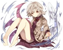 1girl ass barefoot bow bowtie braid dress full_body jacket kishin_sagume long_sleeves looking_at_viewer purple_dress red_eyes short_hair silver_hair simple_background single_wing solo sweetroad touhou white_background wings