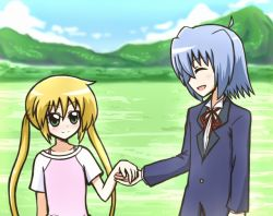 ayasaki_hayate blonde_hair blue_hair green_eyes hayate_no_gotoku! long_hair reverse_(artist) sanzen'in_nagi twintails