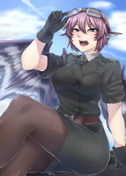 1girl adjusting_goggles alternate_costume animal_ears belt black_dress black_gloves black_legwear blue_sky cloud dress gloves goggles goggles_on_head grey_eyes highres military military_uniform mystia_lorelei ninonini open_mouth pantyhose pink_hair sitting sky solo touhou uniform