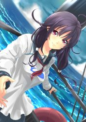 1girl ahoge dutch_angle endouvocalotyu highres kantai_collection long_hair looking_at_viewer low_twintails ocean outstretched_hand purple_hair red_eyes school_uniform serafuku skirt smile solo taigei_(kantai_collection) twintails whale