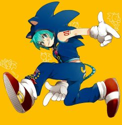 1girl animal_hood aqua_eyes aqua_hair cosplay gloves grin hatsune_miku hood hoodie naoko_(juvenile) shoes smile sneakers solo sonic sonic_(cosplay) sonic_the_hedgehog vocaloid yellow_background