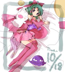 1girl bed blue_eyes bow breasts cape detached_sleeves dress earrings elbow_gloves final_fantasy final_fantasy_vi gloves green_hair hair_ribbon jewelry long_hair moogle orthros pantyhose pillow ponytail ribbon see-through solo strapless strapless_dress taruton thighhighs tina_branford