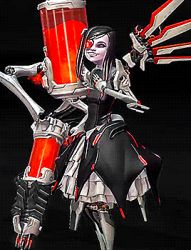 1girl 3d alien animated battleborn beatrix_(battleborn) big_mouth black_hair creepy cyborg dress fangs hand_over_mouth laughing lolita_fashion long_hair mechanical_arm mechanical_eye mechanical_legs small_breasts smile solo what wing