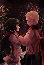 1boy 1girl bandage blonde_hair blush brown_hair dyolf fireworks hand_holding hand_in_hair hetero hyuuga_hinata looking_at_another naruto night night_sky scarf shared_scarf sky uzumaki_naruto whiskers