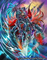1boy armor armored_boots blue_eyes boots cape cardfight!!_vanguard chains company_name dark_skin dark_skinned_male feathers full_body halberd halberd_revenger_peredur helmet long_hair male_focus moreshan official_art polearm red_hair sky solo weapon