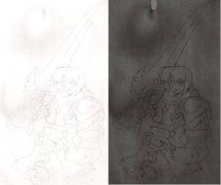 1boy fanart knight male_focus mogudan mogudan_(style) monochrome multiple_views original sicklebx sketch split_screen sword weapon white_background