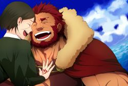 2boys beard bob_cut command_spell facial_hair fate/zero fate_(series) kikuyarou laughing multiple_boys red_hair rider_(fate/zero) sky waver_velvet