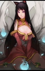 1girl absurdres ahri animal_ears areola_slip areolae artist_request bare_shoulders black_hair breasts cat_ears cleavage_cutout highres league_of_legends long_hair looking_at_viewer purple_eyes sitting smile solo