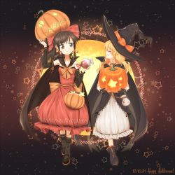 2girls ^_^ alternate_costume basket black_gloves blonde_hair blush boots bow braid brown_eyes brown_hair bubble_skirt cape collaboration commentary_request dated detached_sleeves dress eyes_closed full_body gloves gradient gradient_background grin hair_bow hair_ornament hair_ribbon hajin hakurei_reimu halloween halloween_costume happy happy_halloween hat hat_ribbon highres jack-o'-lantern kirisame_marisa long_hair long_sleeves looking_at_another mary_janes minust multiple_girls ponytail profile ribbon sash shoes side_braid single_braid skirt smile star strapless strapless_dress text touhou wavy_hair witch_hat yin_yang