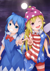 2girls ;d absurdres american_flag_legwear american_flag_shirt blonde_hair blue_dress blue_eyes blue_hair bow bowtie cirno clenched_hand clownpiece dress fairy_wings full_moon grin hair_ribbon hat highres jester_cap long_hair looking_at_viewer moon multiple_girls night one_eye_closed open_mouth outdoors outstretched_arm ribbon short_hair short_sleeves shou_(ahiru_shinobu) side-by-side smile touhou v very_long_hair water wings