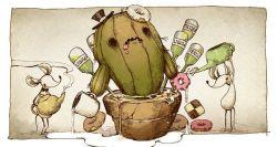 cactus donut mouse mug no_humans original parallela66 teapot top_hat watering_pot white_border