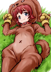 1girl 3: absurdres animal_costume anzai_miyako bangs blue_eyes blush breasts dog_costume eyebrows gloves grass highres idolmaster idolmaster_cinderella_girls mercy_rabbit paw_gloves paws red_hair short_hair small_breasts solo thick_eyebrows