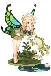 1girl bent_over blonde_hair braid butterfly_wings covering_mouth fairy flower frog hair_flower hair_ornament ingway_(odin_sphere) lily_pad long_hair mercedes odin_sphere plant pointy_ears puff_and_slash_sleeves puffy_sleeves red_eyes standing starshadowmagician tiptoes twin_braids water wings