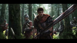 6+boys armor arrow berserk black_hair blood bow_(weapon) breastplate cape chainmail claymore_(sword) crossbow forest gauntlets guts helmet injury knight letterboxed lightofheaven male_focus multiple_boys nature polearm realistic short_hair soldier spaulders spear sword tree vambraces weapon wrist_wraps