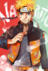 1boy blonde_hair blood blood_in_mouth blue_eyes character_name forehead_protector jacket jersey looking_at_viewer naruto open_clothes open_jacket pointing pointing_at_self short_hair smile solo steam uzumaki_naruto