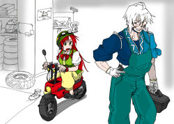 1boy 1girl ahoge braid glasses gloves goggles goggles_on_head green_eyes grin hand_on_hip helmet hong_meiling long_hair looking_at_another morichika_rinnosuke open_mouth overalls pants red_hair ribbon semi-rimless_glasses short_hair side_glance sketch sleeves_rolled_up smile so-men standing sweatdrop tire touhou twin_braids under-rim_glasses vest white_hair yellow_eyes