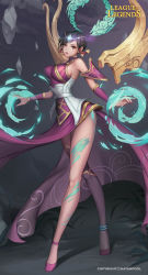 1girl absurdres anklet armor bare_shoulders breasts brown_eyes brown_hair circlet detached_sleeves dress energy_ball eyelashes facial_mark fingernails forehead_jewel hair_tubes halterneck hayanpool high_heels highres jewelry karma_(league_of_legends) large_breasts league_of_legends legs lips long_fingernails long_legs looking_at_viewer magic nail_polish parted_lips pelvic_curtain pink_lips purple_dress purple_nails short_hair sidelocks solo tiara