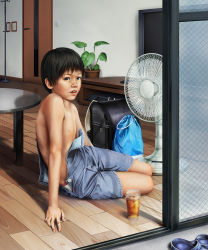 1boy black_hair child indoors japanese male_focus original realistic short_hair solo summer sweat to1989 topless
