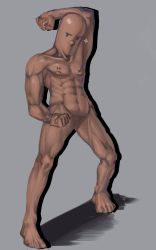 1boy abs absurdres biceps clenched_hand dark_skin drop_shadow dugtrio expressionless extra_eyes extra_noses grey_background highres manly muscle navel nipples no_penis no_testicles nude pectorals pokemon ririn_(alethyne) simple_background solo tan veins what
