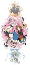 2girls 6+boys alternate_hairstyle aqua_(kingdom_hearts) armor axel axel_(kingdom_hearts) belt black_hair black_legwear blonde_hair blue_eyes blue_hair book brown_hair chain_necklace cloak detached_sleeves eyes_closed facial_mark fingerless_gloves food gloves green_eyes hakama highres ice_cream ikublack japanese_clothes keyblade kingdom_hearts kingdom_hearts_358/2_days kingdom_hearts_3d_dream_drop_distance kingdom_hearts_birth_by_sleep koumori_bat multiple_boys multiple_girls red_hair riku roxas short_hair silver_hair sora_(kingdom_hearts) terra_(kingdom_hearts) thighhighs ventus wondernyan wondernyan_(kingdom_hearts) xion_(kingdom_hearts)