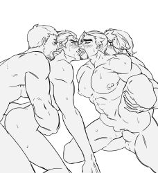 4boys age_difference anal ass bara beard blush brothers erection facial_hair family foursome genji_(overwatch) group_sex hanzo_(overwatch) incest kiss leg_lift licking lifting male_focus mccree_(overwatch) monochrome multiple_boys muscle nude open_mouth orgy overwatch penetration penis sex siblings soldier:_76_(overwatch) sweat testicles tongue tongue_out yaoi