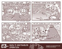 4koma 6+girls aircraft_carrier_hime battleship_hime comic defense_of_the_ancients dota_2 edwin_(cyberdark_impacts) from_behind from_side hat heavy_cruiser_hime highres kantai_collection light looking_at_viewer monochrome multiple_girls pose prinz_eugen_(kantai_collection) shigure_(kantai_collection) television text tidehunter upper_body