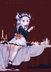 1girl alternate_costume apron bangs beads black_dress black_shoes blue_eyes blunt_bangs blush bonnet bow cake candle candlestand copyright_name dragon_girl dragon_horns dress food fruit full_body hair_beads hair_ornament highres holding horns kanna_kamui kobayashi-san_chi_no_maidragon long_hair long_sleeves maid maid_apron mio-muo1206 shoes silver_hair simple_background sitting solo sparkle strawberry table teapot twintails white_apron white_legwear