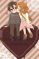 1boy 1girl asuna_(sao) black_hair brown_eyes brown_hair chibi chiyokichi chocolate chocolate_heart couple english heart highres kirito kiss long_hair short_hair sitting sword_art_online valentine