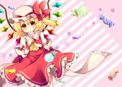 1girl ascot blonde_hair blush bow candy cowboy_shot crystal eating flandre_scarlet frilled_shirt_collar frilled_skirt frills hat hat_bow highres lollipop looking_at_viewer mob_cap puffy_short_sleeves puffy_sleeves red_bow red_eyes red_skirt red_vest ruhika short_sleeves side_ponytail skirt skirt_set solo star touhou wings wrist_cuffs