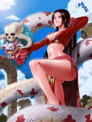 1girl arm_up black_hair blue_eyes boa_hancock cleavage_cutout cloud earrings highres horns jewelry leg_up legs lipstick long_hair makeup midriff mspk navel one_piece outdoors revealing_clothes salome salome_(one_piece) skull sky snake