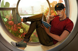 1boy baseball_cap big_hero_6 biting_pen black_eyes black_hair book bridge denim disney flower hat jeans legs_crossed marvel mistermagnolia pants pen plant reading shoes sitting sneakers t-shirt tadashi_hamada window