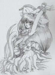 armor fighter_angel hair_ribbon hanasaki_momoko long_hair monochrome ribbon tentacle very_long_hair vore wedding_peach wristband
