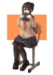1girl black-framed_glasses blazer blue_skirt blush book brown_eyes brown_hair brown_shoes buttons chair covering_mouth full_body glasses hair_bun holding holding_book long_sleeves looking_to_the_side neckerchief open_book original pantyhose plan_(planhaplalan) pleated_skirt round_glasses sailor_collar school_uniform shoes short_hair skirt solo